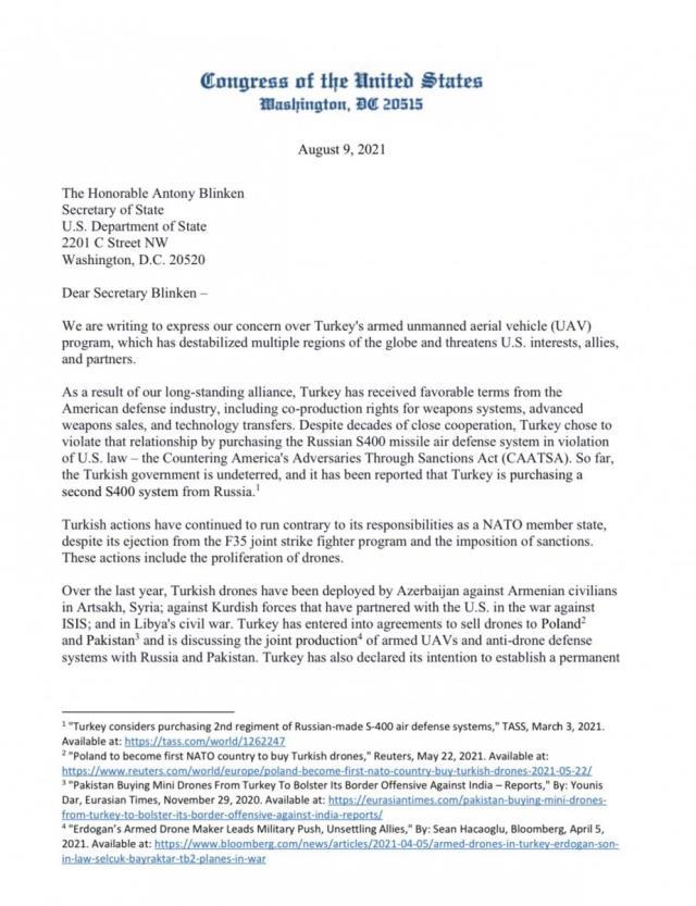 ABD'li 27 senatörden Türk SİHA'ları için şikayet mektubu: Üretimi durdurulsun